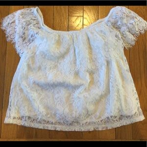 Hollister lace overlay crop blouse top small